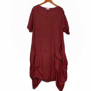 Made In Italy Maroon Linen Lagenlook Cocoon Dress